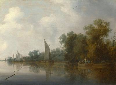 Net Painting - A River With Fishermen Drawing A Net by Salomon van Ruysdael