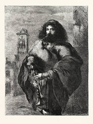 A Roman Bagpiper Art Print by Gilbert, Sir John (1817-97), English