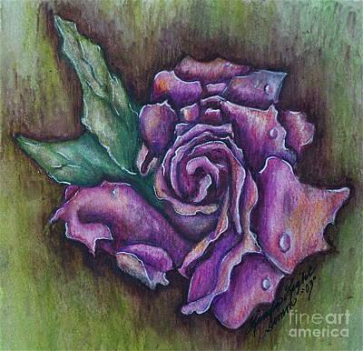 Linda Simon Wall Decor Painting - A Rose    by Linda Simon