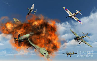 Destruction Digital Art - A Royal Air Force Supermarine Spitfire by Mark Stevenson