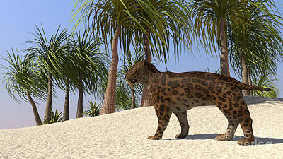 Prehistoric Digital Art - A Saber-tooth Tiger In A Tropical by Kostyantyn Ivanyshen