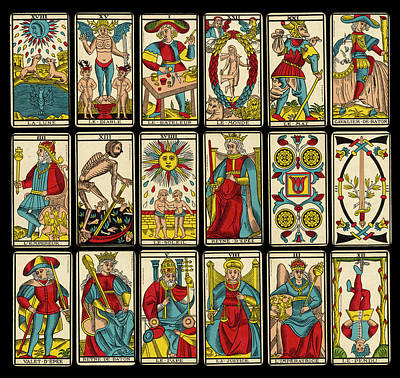 Tarot Drawing - A Selection Of Tarot Cards by Mary Evans Picture Library