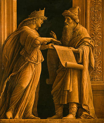 Reading Drawing - A Sibyl And A Prophet by Andrea Mantegna