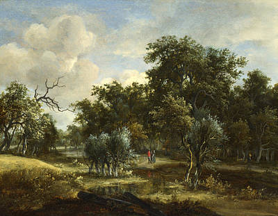 Painting - A Stream By A Wood by Meindert Hobbema