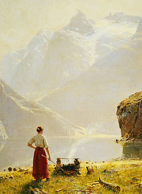 Fjord Painting - A Summer Day On A Norwegian Fjord by Hans Dahl