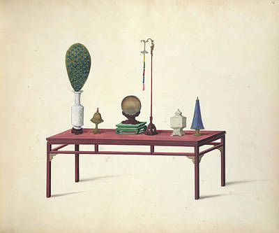 Watercolour Photograph - A Table And Ornaments by British Library