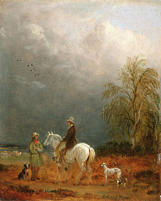 Cardboard Painting - A Traveller And A Shepherd In A Landscape Signed Lower by Litz Collection