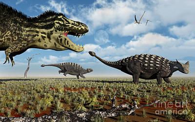 A Tyrannosaurus Rex Hunting Down A Pair Print by Mark Stevenson