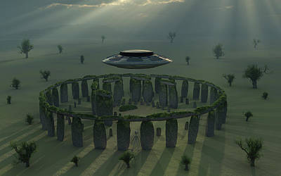 Megalith Photograph - A Ufo & Its Alien Crew Visiting by Mark Stevenson