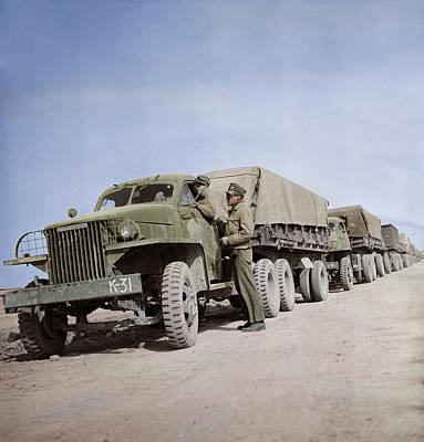 Photograph - A United States Army Truck Convoy by Stocktrek Images