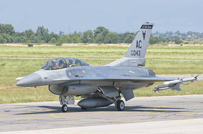 A U.s. Air Force F-16 During Exercise Art Print by Giovanni Colla