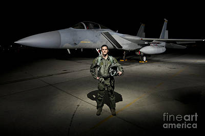 A U.s. Air Force Pilot Stands In Front Print by Terry Moore