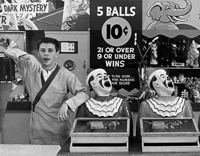 Clown Photograph - A Vendor At Playland In Sf by Underwood Archives