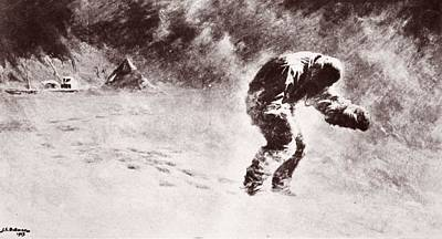 Snowstorm Drawing - A Very Gallant Gentleman by John Charles Dollman