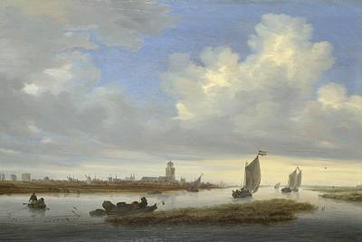 London Painting - A View Of Deventer Seen From The North-west by Salomon van Ruysdael