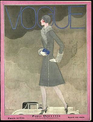 Grey Clouds Photograph - A Vintage Vogue Magazine Cover From 1928 by Georges Lepape