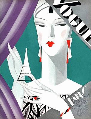 Curtains Photograph - A Vintage Vogue Magazine Cover Of A Woman by Eduardo Garcia Benito