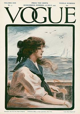 Watercraft Photograph - A Vintage Vogue Magazine Cover Of A Woman by G. Howard Hilder
