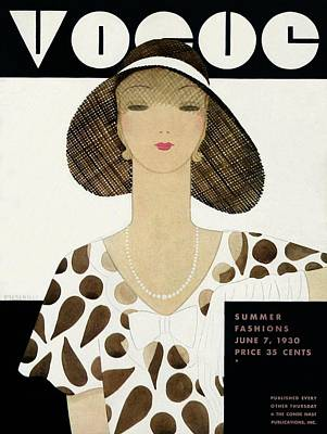 Leaning Photograph - A Vintage Vogue Magazine Cover Of A Woman by Harriet Meserole