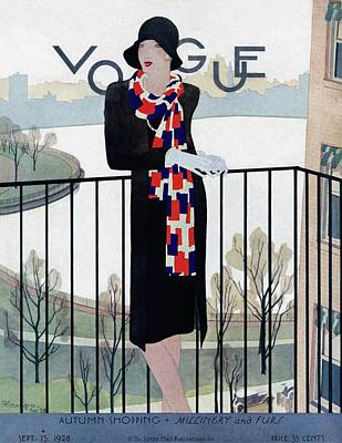 Photograph - A Vintage Vogue Magazine Cover Of A Woman by Pierre Mourgue
