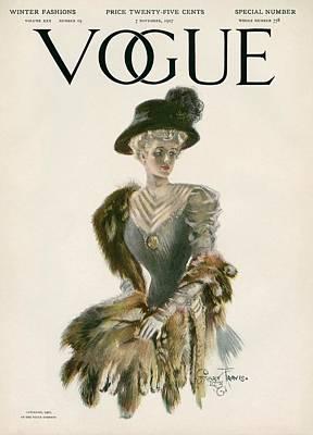 1907 Photograph - A Vintage Vogue Magazine Cover Of A Woman by Stuart Travis