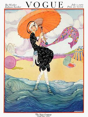 A Vogue Cover Of A Woman On A Beach Art Print by Helen Dryden
