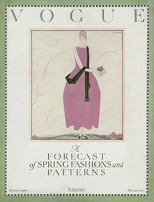 A Vogue Cover Of A Woman Wearing A Pink Dress Art Print by Georges Lepape