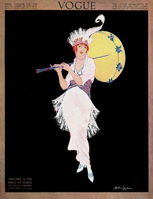 Vintage Hats Photograph - A Vogue Cover Of A Woman With A Parasol by Helen Dryden