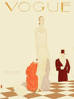 A Vogue Magazine Cover Of A Woman Art Print by Eduardo Garcia Benito