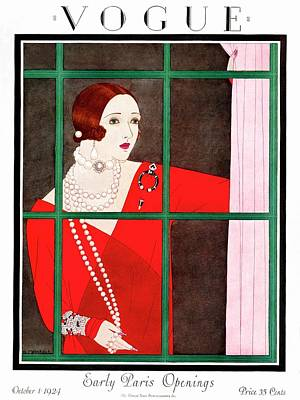 A Vogue Magazine Cover Of A Woman Art Print by Harriet Meserole