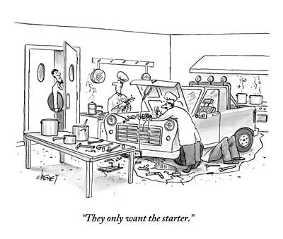 Mechanic Drawing - A Waiter Speaks To The Chefs In The Kitchen by Tom Cheney