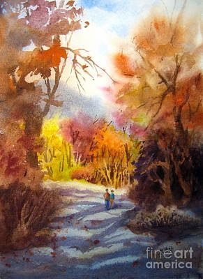 Family Holiday Parks Painting - A Walk In The Fall by Mohamed Hirji