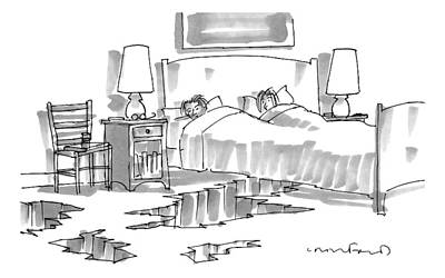 Earthquake Drawing - A Wife And Husband Lie In Bed. Cracks And Holes by Michael Crawford