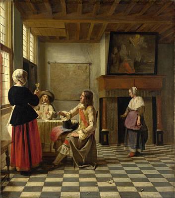 Pieter De Hooch Wall Art - Painting - A Woman Drinking With Two Men by Pieter de Hooch