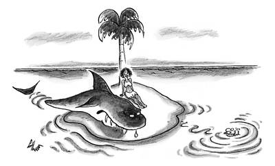 Reef Shark Drawing - A Woman Is Seen On A Deserted Island With A Shark by Frank Cotham
