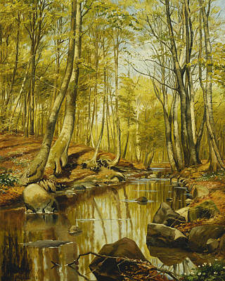 Naturalism Painting - A Wooded River Landscape by Peder Monsted