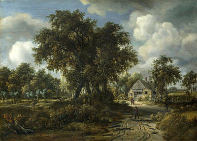 Painting - A Woody Landscape by Meindert Hobbema