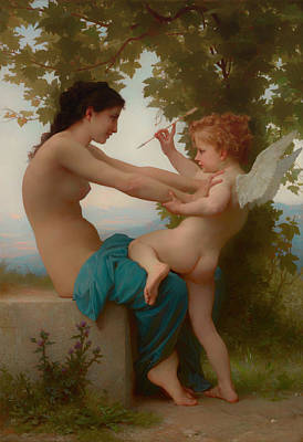 Young Girl Nude Painting - A Young Girl Defending Herself Against Eros by William-Adolphe Bouguereau