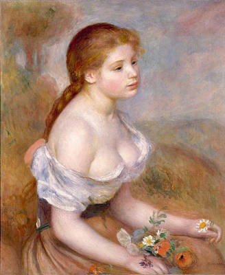 A Young Girl With Daisies Renoir Painting - A Young Girl With Daisies by Pierre-Auguste Renoir