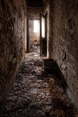 Abandoned Building - Hallway To Ladies Room Print by Gary Heller