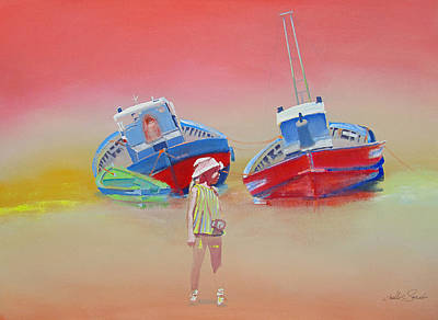 Painting - Abandoned Fishing Boats Tavira by Charles Stuart