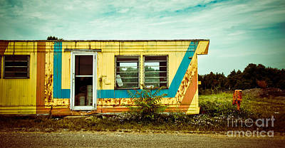 Looking Photograph - Abandoned Yellow Trailer by Amy Cicconi