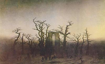 Painting - Abbey In The Oakwood by Caspar David Friedrich