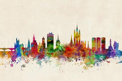 Scotland Digital Art - Aberdeen Scotland Skyline by Michael Tompsett