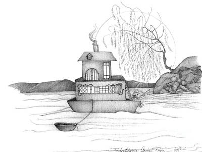 Fishing Pole Painting - Abstract Art Figurative House Boat Black And White Drawing Annies River By Romi by Megan Duncanson
