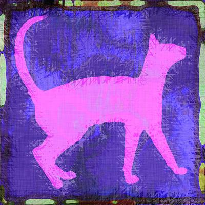 Kitty Digital Art - Abstract Cat by David G Paul
