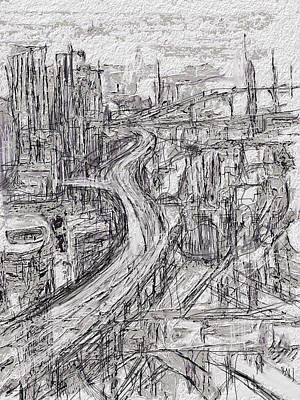 City Scenes Mixed Media - Abstract City by Russell Pierce