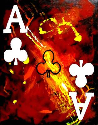 Painting - Abstract Galaxy Poker Aces Clubs by Teo Alfonso