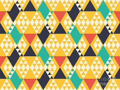 Bright Wall Art - Digital Art - Abstract Retro Pattern. Vector by Artsandra