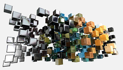 Isolated Digital Art - Abstract Shiny Cubes by Allan Swart
